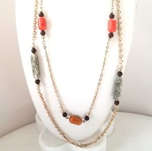 Sarah Coventry Long Gold Tone Orange Bead Necklace